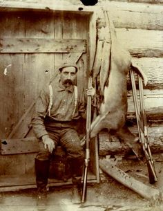 """Man with Deer and Fish"" via the Wisconsin Historical Society, Copeland Hunting Photographs. This guy just seems awesome Deer Camp, Deer Hunting, Old Pictures, Old Photos, King Salmon, Hunting Pictures, Living In Alaska, Mountain Man, Historical Society"