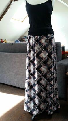 Jupe longue jersey taille élastique couture