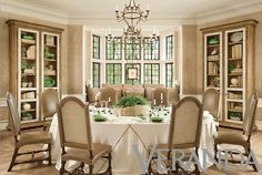 Neutral dining room with green accents -- Richard Hallberg and Barbara Wiseley via Veranda Magazine.
