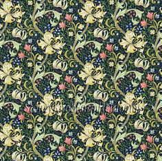 William Morris & Co Tyg Golden Lily Midnight/Green Lily Wallpaper, Print Wallpaper, Fabric Wallpaper, Wallpaper Designs, Wallpaper Online, Green Curtains, Curtains With Blinds, Bedroom Curtains, Harlequin Fabrics