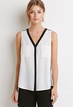 Forever 21 is the authority on fashion & the go-to retailer for the latest trends, styles & the hottest deals. Shop dresses, tops, tees, leggings & more! New Outfits, Work Outfits, Shirt Blouses, Work Wear, Athletic Tank Tops, Latest Trends, My Style, Womens Fashion, Contrast