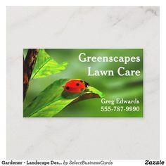 Gardener – Landscape Designer – Lawn Care Business Card | Zazzle.com | 1000 - Modern | 1000 Lawn Care Business Cards, Professional Business Cards, Business Card Design, Bug Images, Green Leaf Background, Lawn Care Tips, Lawn Service, Landscape Services, Garden Planning