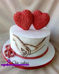 - cake by Radmila Anniversary Cake Designs, Happy Anniversary Cakes, Wedding Anniversary Cakes, Birthday Cake For Boyfriend, Make Birthday Cake, Happy Birthday Cakes, Valentines Day Cakes, Valentine Desserts, Chocolate Birthday Cake Decoration