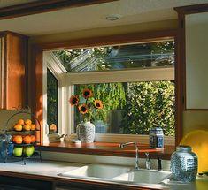 New Kitchen Window Greenhouse Sinks Ideas Kitchen Garden Window, Garden Windows, House Windows, Vinyl Windows, Kitchen Windows, Garden Bathroom, High Windows, Kitchen Plants, Window Greenhouse