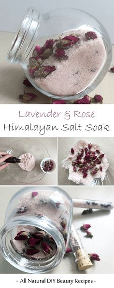 Homemade DIY Lavender And Rose Himalayan Salt Soak - Pamper yourself with a relaxing and luxurious spa experience at home with this DIY salt bath. This beauty recipe is easy and makes use of natural ingredients (rose buds, lavender essential oil, Himalayan salt) that you can easily find in your home or local store. This Himalayan bath salt also make great handmade gifts for your loved ones or as party favors.