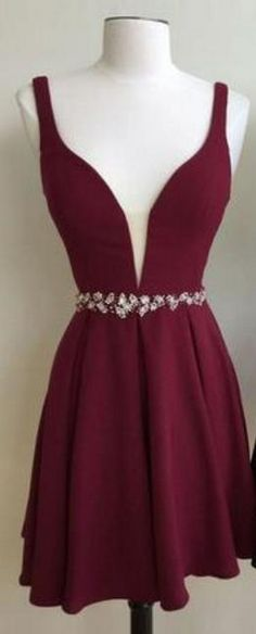 Cute Short Burgundy/Black Homecoming Dress with Beadings