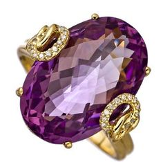 Amethyst, Diamond set in gold