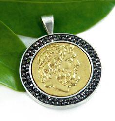 Ancient Coin Medallion Pendant - 18K Gold - Greek Hadrian - Black CZs