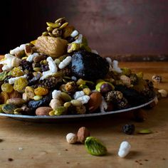 This Iranian snack is a sweet-salty mixture of nuts, seeds, dried fruits, and sugar-coated almonds.