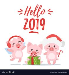 Vector cartoon style illustration of Happy 2019 New year and Christmas greeting card with cute three pink pigs holding present, jumping and standing. Isolated on white background. Happy New Year Greetings, New Year Wishes, Happy New Year 2019, New Year Card, Merry Christmas And Happy New Year, This Little Piggy, Little Pigs, Christmas Greeting Cards, Christmas Greetings