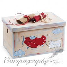 """"""" ΑΕΡΟΠΛΑΝΟ"""" σετ βάπτισης με ξύλινο ζωγραφισμένο κουτί Toy Chest, Storage Chest, Decorative Boxes, Toys, Furniture, Home Decor, Activity Toys, Decoration Home, Room Decor"""