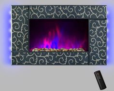 Wall Mount 36 1500W Adjustable Heater Electric Fireplace w LED Backlights Log Set 2 Setting Flame Effect Remote
