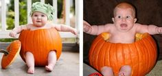 A seasonal photo shoot with a hollowed out pumpkin became a haunting Halloween nightmare for this baby