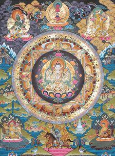 Chenrezig mandala symbolizing the embodiment of compassion. This would be a beautiful thangka