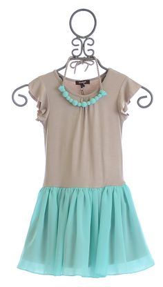Imoga Girls Dress with Tulle Skirt and Necklace $66.00