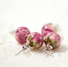 Botanical Jewelry Earrings Stud Rose Flower in Resin Botanical