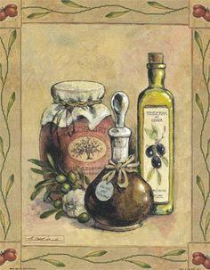 Olive Oil I (Betty Whiteaker) Decoupage Vintage, Watercolor Food, Watercolor Paintings, Madhubani Art, Jewelry Hanger, Art Commerce, Country Paintings, Realistic Paintings, Bathroom Art