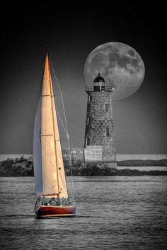 Saili g / Lighthouse / Moon / Ocean Splash Photography, Moon Photography, Black And White Colour, Black And White Pictures, Color Splash Photo, Splash Images, Cool Pictures, Beautiful Pictures, Shoot The Moon