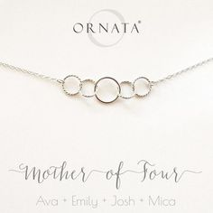 """""""Mother of Four"""" Personalized Sterling Silver Necklace 