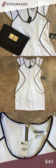 Express Bodycon Dress Extremely beautiful and so versatile dress from Express! It's a thick material and a little stretchy for a better fit. Has a zipper on the back that goes all the way from top to bottom. Express Dresses Mini