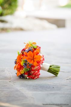 Bridal Bouquet of Bold Orange, Yellow, Red, and Blue - Petite Fleur by The French Bouquet - Expressions Photography