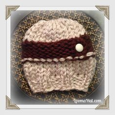 Loom Knit Newborn Hat Pattern for Boys. Free Pattern. Two Tone w Cable. Post Includes size chart to help customize your Baby Hats. Change colors for Girls