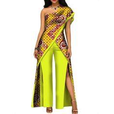 2018 New Autumn African Pant Set For Women Sexy Off Shoulder Jumpsuit Dashiki Clothing Batik Wax African Jumpsuit, African Dress, African Fashion Ankara, African Print Fashion, African Traditional Dresses, Traditional Outfits, African Tops For Women, African Print Clothing, African Clothes