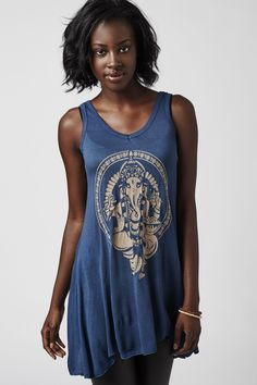 *Blue Ganesh Tank* - Sale - Earthbound Trading Co. Ganesh, Tank Tops, T Shirt, Blue, Clothes, Women, Fashion, Outfit, Halter Tops