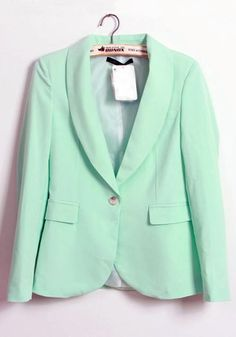 Light Green Shawl Collar Ruffle Cotton Blend Suit