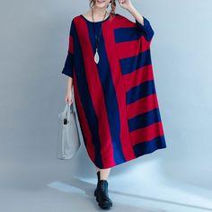 Autumn Stripe Loose Knit Irregular Stitching Dress.materials:65% Cotton , 35% Polyester .buykud dresses