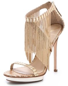 B Brian Atwood Cassiane Fringe Sandals Brian Atwood, Pretty Shoes, Beautiful Shoes, Hello Beautiful, Frauen In High Heels, Shoe Boots, Shoes Heels, Gold Heels, Fringe Sandals