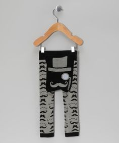 Black Mustache Leggings from Doodle Pants via Zulily - would look so cute on a crawler