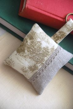 linen and toile de jouy keychain