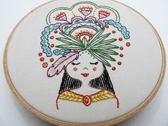 Flower Girl Embroidery - Iron-on Transfer #cozyblue #design #embroidery #embroidery-design #flower #flower-girl #heat-transfer #indie-designer #iron-on #pattern