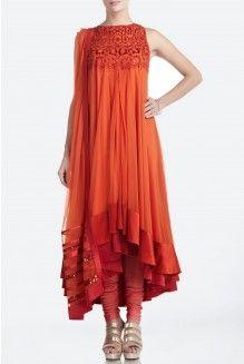 Orange Embellished Net Anarkali