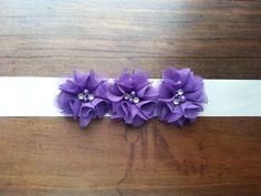 Purple Chiffon and Satin Bridal Sash BeltFlower by PetuniasAndLace