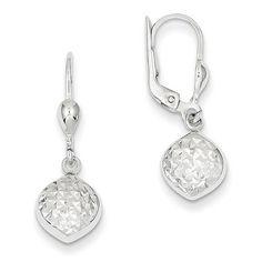 Dangle Leverback Earrings 9x27mm in 14k White Gold