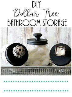 Dollar Tree Bathroom Storage – Re-Fabbed – diy bathroom decor dollar stores Diy Bathroom Decor, Bathroom Signs, Bathroom Organization, Bathroom Storage, Bathroom Ideas, Organization Ideas, Bathroom Jars, Decor Diy, Washroom