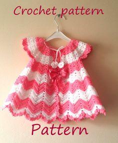 CROCHET PATTERN Baby Girl Crochet Dress by SandraHandmadeShop #crochet #pattern #baby #dress #chevron