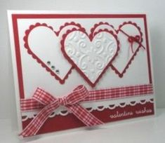handmade Valentine card from Think Outside the Box … red and white … three matted hearts … gingham ribbon … fresh look … sweet card … Source: cmisfavs Valentines Day Cards Handmade, Valentine Wishes, Valentine Crafts, Greeting Cards Handmade, Valentine Ideas, Printable Valentine, Valentine Box, Valentine Wreath, Valentine Nails