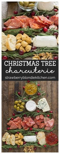 Impress your guests with this Christmas Tree Charcuterie filled with gourmet cheeses, meats and crackers. The perfect way to start any holiday or cocktail party this season and don't forget the wine! AD #charcuterie #MadeinFrance #wine #wineandcheese #charcuterieboard #christmascharcuterie #appetizer #cheeseboard | Strawberry Blondie Kitchen
