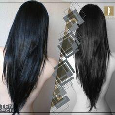Corte en v cabello largo lacio