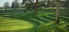 Modern grass terraces designed by the English firm Kim Wilkie Associates at Heveningham Hall in Suffolk, England. Garden Steps, Lawn And Garden, Green Architecture, Landscape Architecture, Terrace Design, Garden Design, Urban Landscape, Landscape Design, European Garden