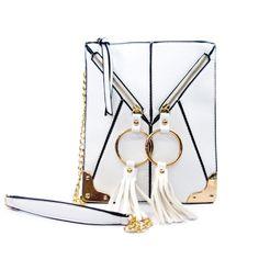 White Double-Ring Fringe Zip Crossbody | Danice Stores
