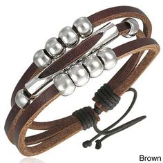 This handmade bracelet is crafted of a collection of genuine leather strands in a fascinating design, highlighted by a collection of metal beads/balls. This simple yet elegant piece of jewelry looks equally stunning on both men's and women's wrists.