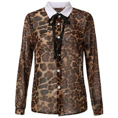 Women Long Sleeve Bow Lapel Button Leopard Printed Chiffon Blouse ($9.06) ❤ liked on Polyvore featuring tops, blouses, blouses & shirts, leopard, button collar shirt, long sleeve shirts, chiffon blouse, brown shirt and button shirt