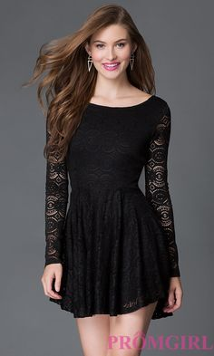 Black Lace Long Sleeve Party Dress $336.99 after prom styles