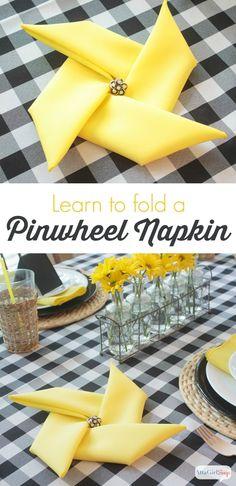 Atta Girl Says | How to Fold Napkins Into Pinwheels | http://www.attagirlsays.com