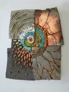 Fragile Earth | Kathy Thaden Raku, wood, slate, smalti, mica muscovite, abalone, paper, turquoise, orange howlite, sandstone, twigs
