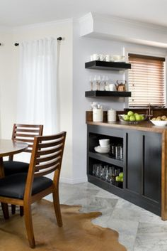 So your kitchen cabinets, decoratively speaking, are on their last legs. What, if anything, could save them from the waiting jaws of a hungry dumpster? New Kitchen, Kitchen Dining, Kitchen Cabinets, Nook, Upcycle, Magazines, Table, Events, Furniture
